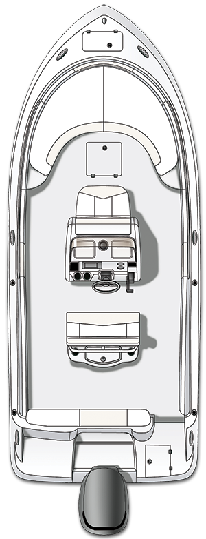 Overhead view of the  Robalo R222