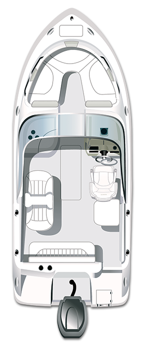 Overhead view of the  Robalo R227