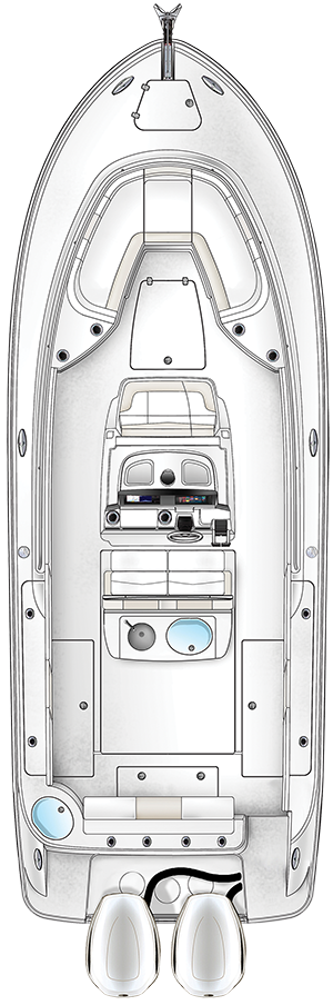 Overhead view of the  Robalo R302